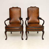 Pair of Georgian Style Leather & Mahogany Armchairs c.1930 (2 of 11)
