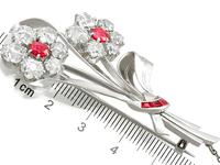 6.85 ct Diamond and 1.10 ct Ruby, Platinum Brooch - Antique and Vintage (7 of 9)