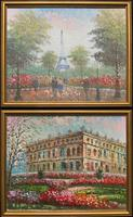Lovely Pair of Original 20th Century French Parisian Gouache Cityscape Paintings