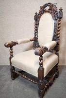 Pair of Victorian Jacobean Style Carved Oak Armchairs (4 of 12)
