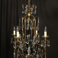 French Gilded Crystal Birdcage 5 Light Antique Chandelier (2 of 10)