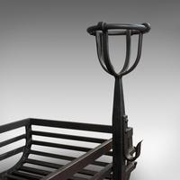 Antique Fire Basket, Pair of Andirons, English, Iron, Fireside, Victorian, 1900 (9 of 12)