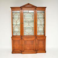 Antique Burr Walnut Breakfront Bookcase / Display Cabinet (2 of 10)