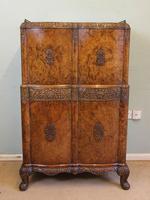 Antique Impressive Burr Oak Cocktail Drinks Cabinet (16 of 16)