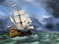 Huge Magnificent 20th Century Vintage Seascape Oil Painting - Battleship in Rough Sea (8 of 12)
