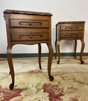 Vintage French Pair of Louis Style Bedsides Tables Oak Cabinets (2 of 12)