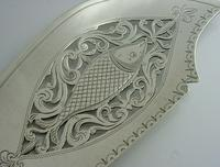 Rare Double Crest Wildman Tracy Families Solid Sterling Silver Fish Slice 1833 (6 of 10)