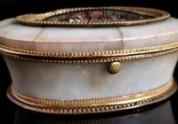 Antique French Jewellery Casket, Alabaster, Ormolu, Dried Flowers (3 of 13)