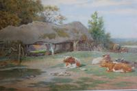 Antique Original Watercolour - Cows Resting - Charles James Adams c.1900 (5 of 9)