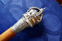 Malacca Walking  Cane with Sliver Crown Pommel by J Wippell & Co Ltd 1916 (9 of 11)