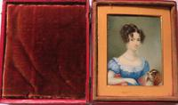 Hand Painted Miniature Portrait Wife 1 of 2 Red Leather Travel Case (3 of 4)