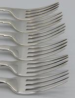 Six Early Victorian Fiddle Pattern Silver Table Forks (2 of 6)