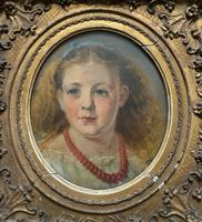 Fine Original 19th Century Circular Oil Portrait Painting of a Child for Reframing/tlc (2 of 11)