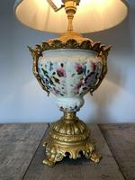 Victorian Gilded Spelter & Ceramic Table Lamp, Rewired & Pat Tested, Shade Included (3 of 10)