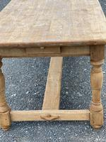 Large French Bleached Oak Farmhouse Table with Extensions (13 of 26)