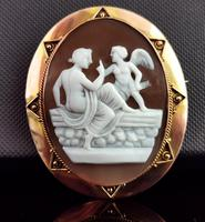 Antique Victorian Cameo Brooch, 9ct Gold, Cupid (3 of 10)