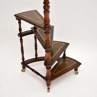 Antique Mahogany & Leather Spiral Library Steps (10 of 10)