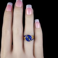 Antique Victorian Diamond Blue Enamel Snake Ring 18ct Gold Dated 1894 (4 of 7)