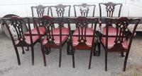 1900's Set of 8 Mahogany Chippendale style Dining Chairs Pop out Seats (3 of 3)