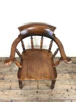 Antique 19th Century Ash & Elm Smokers Bow Chair (3 of 12)