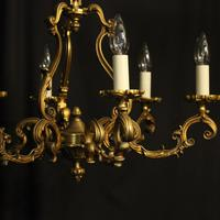 French Gilded Bronze 8 Light Rococo Chandelier c.1930 (6 of 10)