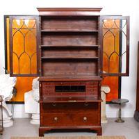 Secretaire Bureau Bookcase Astragal Glazed Mahogany (5 of 17)