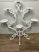 Victorian 19th Century Garden Cast Iron Painted White 6 Branch Plant Stand (40 of 47)