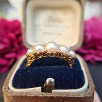 Vintage 18ct Gold Five Cultured Pearl & Diamond Ring, Original Case (8 of 9)