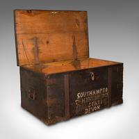 Antique Steamer Trunk, English, Pine, Iron, Carriage Chest, Victorian c.1860 (2 of 12)