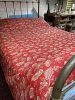 Antique French cotton double quilt eiderdown with red floral pattern (3 of 10)