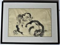 Chinese brush and ink painting, Foo Dog or Lion, 20th century, framed