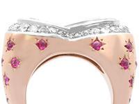 1.36 ct Aquamarine, 0.78 ct Diamond and 0.50 ct Ruby, 18ct Rose Gold Dress Ring - Vintage Circa 1950 (2 of 9)