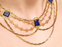 5.55ct Lapis Lazuli & 18ct Yellow Gold Necklace - Antique Victorian c.1870 (12 of 12)