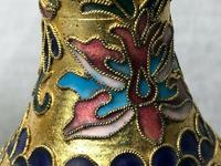 Pair Early 20th Century 1920's Chinese Gilt Champleve Cloissonne Vases (4 of 12)