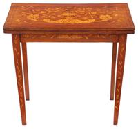 Victorian Fine Quality Mahogany Marquetry Folding Card Console Table 19th Century
