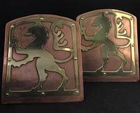 Pair of Copper & Brass Arts & Crafts Bookends (2 of 4)