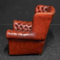 Burgundy Leather Chesterfield Wing-back Armchair (6 of 10)