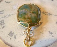 Vintage Pocket Watch Chain Fob 1970s 12ct Gold Plated & Irish Connemara Marble Fob (10 of 10)