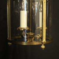 French Gilded Convex Triple Light Antique Hall Lantern (7 of 10)
