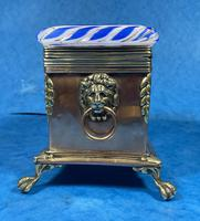 Arts & Crafts Glass and Brass Single Tea Caddy. (8 of 18)