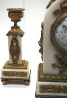 Incredible French White Marble Mantel Clock French 8-day Timepiece Garniture Clock Set (6 of 13)