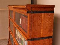 Pair Of Low Stacking Bookcases In Light Oak Globe Werknicke Late 19th Century (3 of 10)