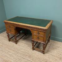 Victorian Oak Antique Pedestal Desk Circa 1890 (7 of 9)
