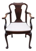 Set of 8 Mahogany Dining Chairs Queen Anne revival c.1910 (10 of 11)