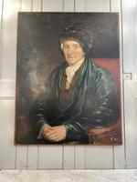 Antique Large Victorian Oil Painting Portrait of Gentleman in Smoking Jacket & Hat (10 of 10)