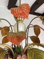 Large Florentine Ceiling Light Chandelier Toleware with Polychrome Painting (9 of 11)