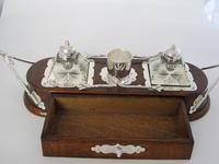Decorative Late Victorian Oak & Silver Plate Ink Stand (5 of 9)