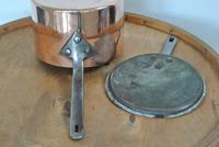 Quality Victorian Copper Saucepan & Lid Castellated Seam 8 Inch Diameter (5 of 7)
