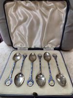 Silver and Enamel Spoons. Birmingham 1937. (2 of 5)