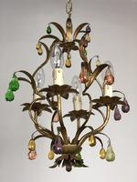 Vintage French Gilt Toleware & Murano Style Chandelier (2 of 13)
